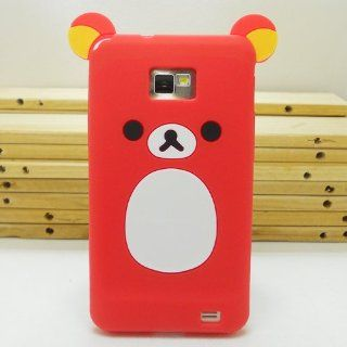 United Electek Cute Cartoon Design 3D Teddy Bear Silicone Rubber Case Cover for Samsung Galaxy S2 i9100 / i777 / i9108, Not Fit S2 T989/ i727/ R760/ Epic 4G Touch SPH D710   Red Cell Phones & Accessories