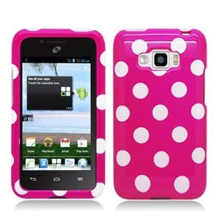 "LG Optimus Elite LS696 Snap On Protector Hard Case, ""Polka Party Hot Pink"" Cell Phones & Accessories"