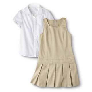 Cherokee Girls School Uniform Short Sleeve Blouse and Jumper Set   Khaki 4
