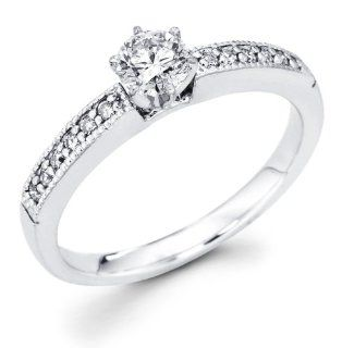 14k White Gold Milgrain Solitaire Round Diamond Engagement Ring w/ Channel Set Diamond Side Stones (3/8 cttw, 1/4 ct Center, G H Color, I1 Clarity) Jewelry
