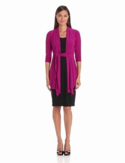 Jones New York Women'S Lightweight 3/4 Sleeve Matte Jersey Dress, Sangria Combo, 4
