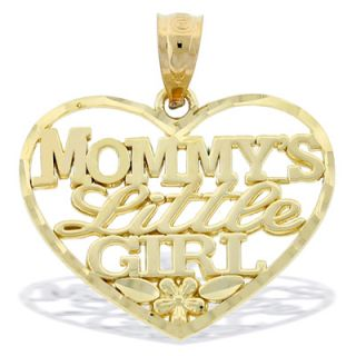 Mommys Little Girl Heart Necklace Charm in 10K Gold   Zales
