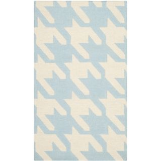 Safavieh Hand woven Moroccan Dhurries Light Blue/ Ivory Wool Rug (3 X 5)