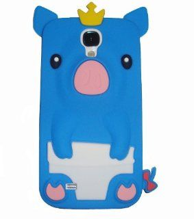 BYG Blue Cute Piggy 3D Crown Pig Silicone Case Cover Skin For Samsung Galaxy S4 i9500 + Phone Radiation Protection Sticker Cell Phones & Accessories