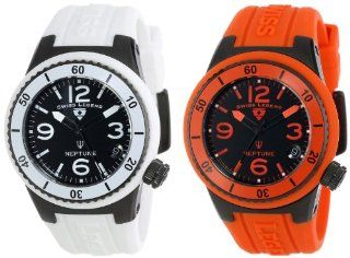 Swiss Legend Women's 11840P BB 01 WHT OR SET Neptune Black Dial White Silicone Band Watch Set Watches