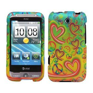 Happy Time Colorful Smiley Face Peace Sign Love Heart Symbol Print 2 Piece Rubber Feel Snap on Faceplate Protector for HTC Freestyle F 5151 /AT&T + Dragoncell Screen Protector Cell Phones & Accessories