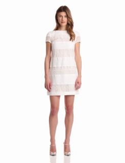 Donna Morgan Women's Linen and Lace Sheath Dress, White/Ivory, 10