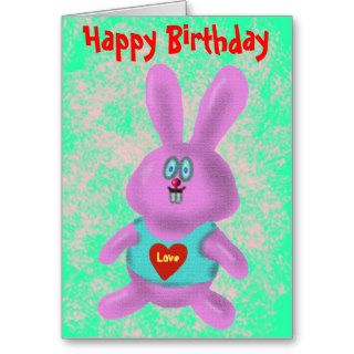Funny cute bunny Happy Birthday card