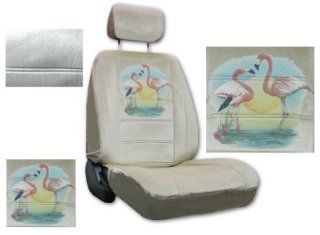 Seat Cover Connection Flamingo Sparkle print 2 Low Back Bucket Car Truck SUV Seat Covers with 2 Head Rest Covers   Tan Automotive