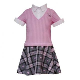 Rare Editions Little Girls 4 6X PINK GRAY PLAID POODLE DROP WAIST MOCK LAYERED Dress (4) Clothing