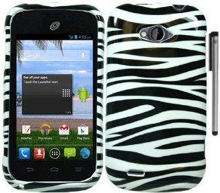 For ZTE Savvy Z750C Black White Zebra Design Hard Cover Case with Stylus Pen and ApexGears Phone Bag Cell Phones & Accessories