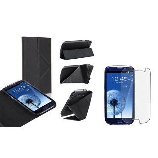 eForCity Black Leather Flip Foldable Stand Case with FREE Anti Glare LCD Cover Compatible With Samsung? Galaxy SIII / S3 Cell Phones & Accessories