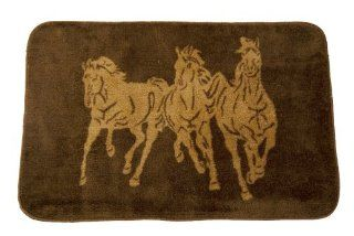 HiEnd Accents Three Horses Kitchen and Bath Rug, Chocolate   Area Rugs