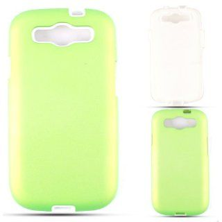 Cell Armor I747 PC JELLY 03 A008 PD Samsung Galaxy S III I747 Hybrid Fit On Case   Retail Packaging   Leather Two Tone White and Green Cell Phones & Accessories