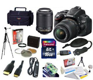 Nikon D5100 16.2MP CMOS Digital SLR Camera with 18 55mm f/3.5 5.6G AF S DX VR and Nikon 55 200mm f/4 5.6G ED IF AF S DX VR [Vibration Reduction] Nikkor Zoom Lens With Lightweight Full Size Tripod, DSLR Camera Gadget Bag, 16GB SDHC High Speed Memory Card an