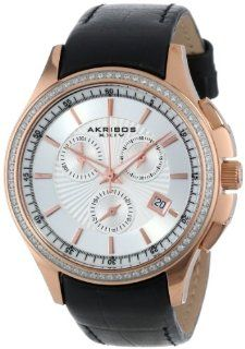 Akribos XXIV Women's AK615RG Grandiose Crystal Swiss Chronograph Rose Tone Stainless Steel Black Leather Strap Watch Akribos XXIV Watches