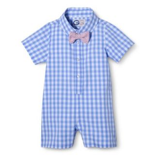 G Cutee Newborn Boys Short Sleeve Gingham Romper   Nautical Blue 12 M