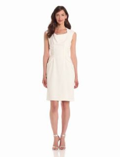 Adrianna Papell Women's Woven Side Rouched Dress, White, 6