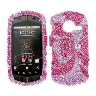 Verizon Casio G'zone Commando C771 C 771 Cover Faceplate Face Plate Housing Snap on Snapon Protective Hard Crystal Case Full Diamond Red Bow Tie on Pink Cell Phones & Accessories