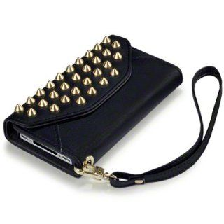 Black iPhone 4S / iPhone 4 Covert Branded Trendy Studded Rock Chic Purse Style Case / Cover / Pouch Cell Phones & Accessories