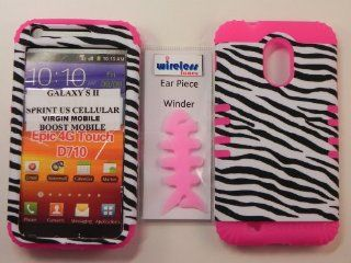 Heavy duty double impact hybrid Cover case black & white zebra leather finish hard snap on over hot pink soft silicone for SAMSUNG S2 Galaxy EPIC 4G TOUCH D710 R760 for SPRINT/BOOST MOBILE/VIRGIN MOBILE/US CELLULAR Cell Phones & Accessories