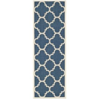 Easy to maintain Safavieh Indoor/ Outdoor Courtyard Navy/ Beige Rug (23 X 14)