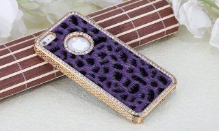 Imprue [TM] Luxury Designer Bling Crystal Leopard Cheetah Purple Fur Hard Case Cover for Apple IPhone 5 (AT&T, T Mobile, Sprint, Verizon) Cell Phones & Accessories