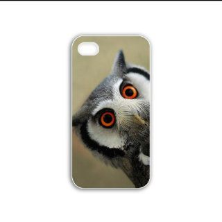 Diy Apple Iphone 4/4S Animals Series northern White Case faced owl animal Black Case of Chrismas Cellphone Shell For Girls Cell Phones & Accessories