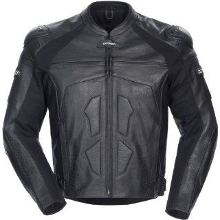 Cortech Adrenaline Men's Leather On Road Racing Motorcycle Jacket   Black / Small Automotive