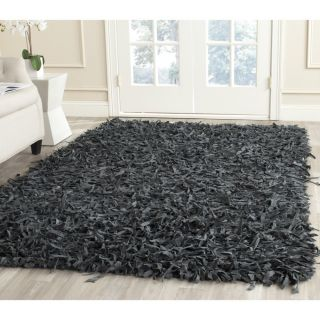 Safavieh Handmade Leather Shag Grey Leather Rug (6 Square)