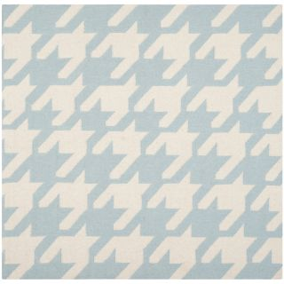 Safavieh Hand woven Moroccan Dhurries Light Blue/ Ivory Wool Rug (6 Square)