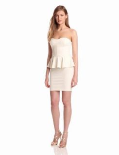 Amanda Uprichard Women's Strapless Ponti Peplum Dress, Ivory, Medium