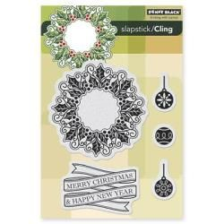 Penny Black Cling Rubber Stamp 5 X7.5 Sheet   Merry   Happy