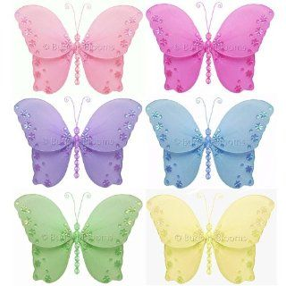 "Butterfly Decorations 5"" Small Twinkle Nylon Hanging Butterflies Decor 6 piece Set (Pink, Dark Pink, Purple, Yellow, Blue, Green)   Decorate for a Baby Nursery Bedroom, Girls Room Ceiling Wall Decor, Wedding Birthday Party, Bridal Baby Shower, Bathroo"