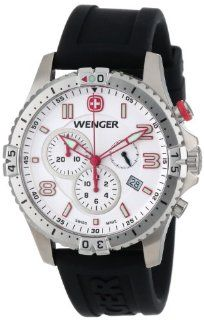 Wenger Men's 77050 Squadron Chrono White Dial Rubber Strap Watch Watches