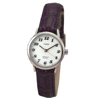 Timex 2E792 Women's Round Silver Tone Casual Watch with White Easy to Read Dial and Deep Purple Genuine Leather Band Timex Watches
