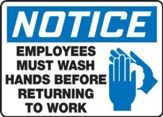 "Accuform Signs MRST811VS Adhesive Vinyl Safety Sign, Legend ""NOTICE EMPLOYEES MUST WASH HANDS BEFORE RETURNING TO WORK"" with Graphic, 7"" Length x 10"" Width x 0.004"" Thickness, Blue/Black on White"