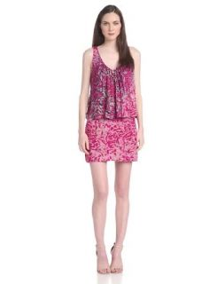 Plenty by Tracy Reese Women's Fly Away Sleeveless Dress, Berry Animal Flauge, Petite