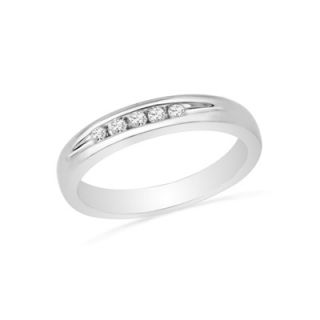 10 CT. T.W. Diamond Five Stone Anniversary Band in Sterling Silver