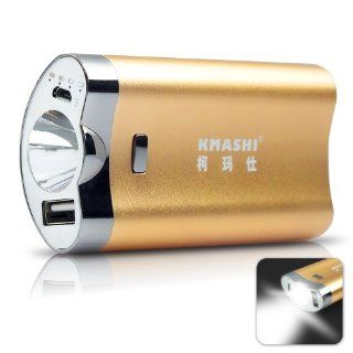 KMAX 812 4400mAh (Shaver Shape Ergonomic) Rechargeable Backup Power Bank Extended External Battery Pack Charger Charging w/ built in 2.5Watt LED Torch Flashlight for iPhone 5s 4S 4 5c, iPad 1/2/3/4 Mini Air, iPod Touch models; Android Smart phones Samsung