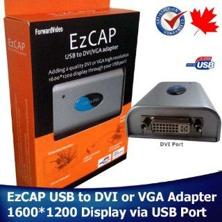 EzCAP808 USB 2.0 to VGA/DVI Adapter   Multi Display Adapter   Extend Display   High Resolution 1280*1024 1440*900 1600*1200   Included DVI to VGA Converter   One Adapter is to extend one Display Electronics
