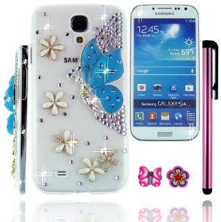 FiMeney Handmade Crystal Diamond Rhinestones Blue Fairytale Butterfly Spirit White Flower Clear Transparent Back Hard Protective Case Cover Shell For Samsung Galaxy S4 S IV GS4 4 I9500 + Cleaning Cloth + 2013 Calendar Card + Pink Stylus Pen + Butterfly And