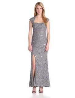 Hailey by Adrianna Papell Women's Cap Sleeve Gown with Side Slit, Gunmetal, 2