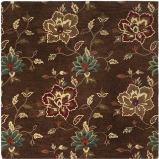 Safavieh Jardine Collection JAR811B Handmade Brown Wool Square Area Rug, 6 Feet