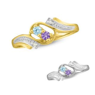 10K Gold Diamond Accent Round Couples Birthstone Ring (2 Stones