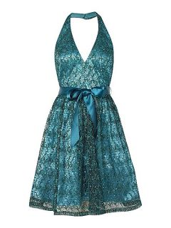 Adrianna Papell Lace sequin halter v neck dress Ocean
