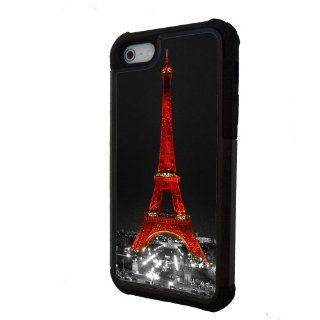 Red Eiffel Tower Paris iPhone 5 case with extra protection  iPhone 5 cover, 2 piece rubber lining case Cell Phones & Accessories