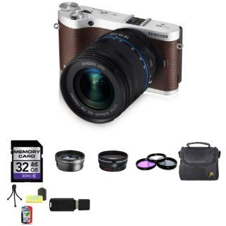 Samsung NX300 Digital Camera with 18 55mm Lens   Brown + 32GB SDHC Class 10 Memory Card + 58mm 3 Piece Filter Kit + 2x Telephoto Lens + Wide Angle Lens + Carrying Case + Table Top Tripod, Lens Cleaning Kit, LCD Protector + USB SDHC Reader  Camera & Ph