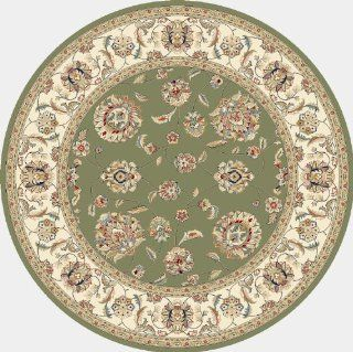 101188   5'3 Round   Rug Depot Traditional Area Rug   Ancient Garden Collection   Green Background   Dynamic Ancient Garden 57365 4464   Machine Made of 100% Polypropelene Fibers   1 Million Point Density   T 7 Quality Rating   Round Rugs with Matching