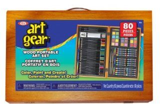 POOF Slinky 80002BL Ideal Art Gear Set with Sketching and Painting Tools in a Portable Wooden Organizer Case, 80 Piece Toys & Games